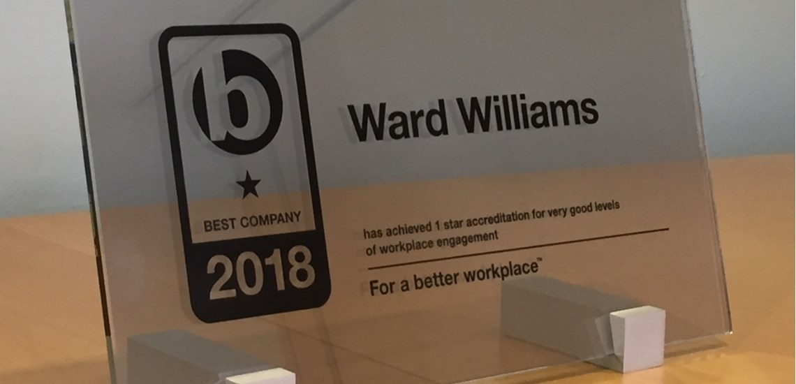Ward Williams recieves Best Companies 1 Star Accreditation for Workplace Engagement